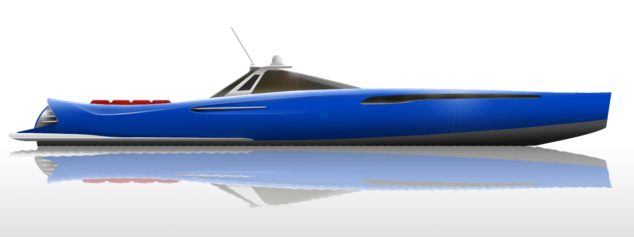 blue power boat